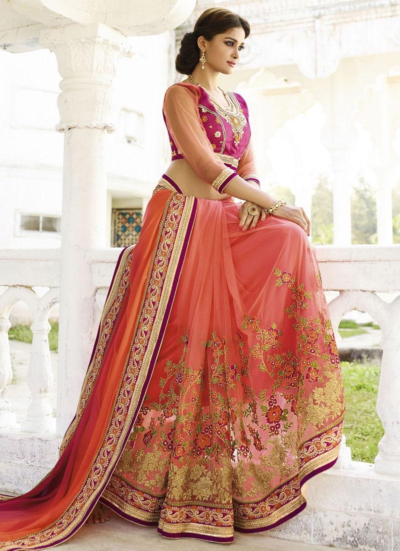 Vivacious Floral Work Net Half N Half Wedding Saree