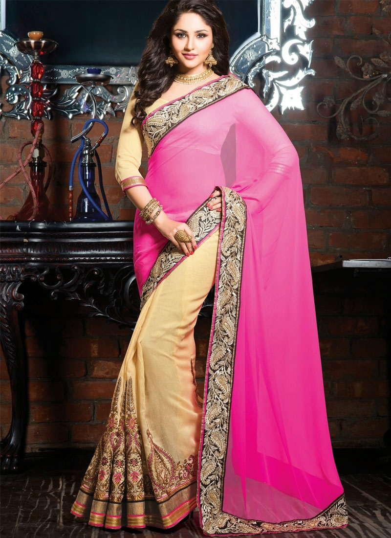 Vivacious Hot pink And Cream Color Half N Half Wedding Saree