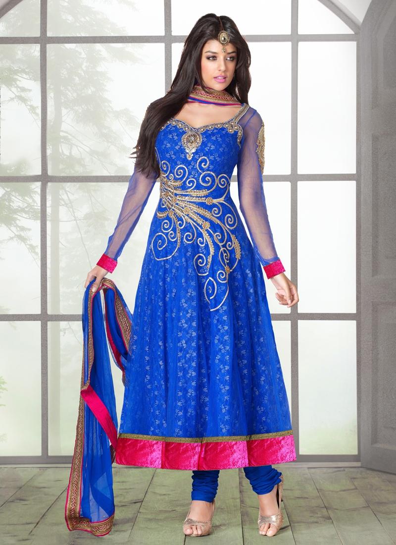 Vivacious Jacquard And Net Designer Salwar Suit