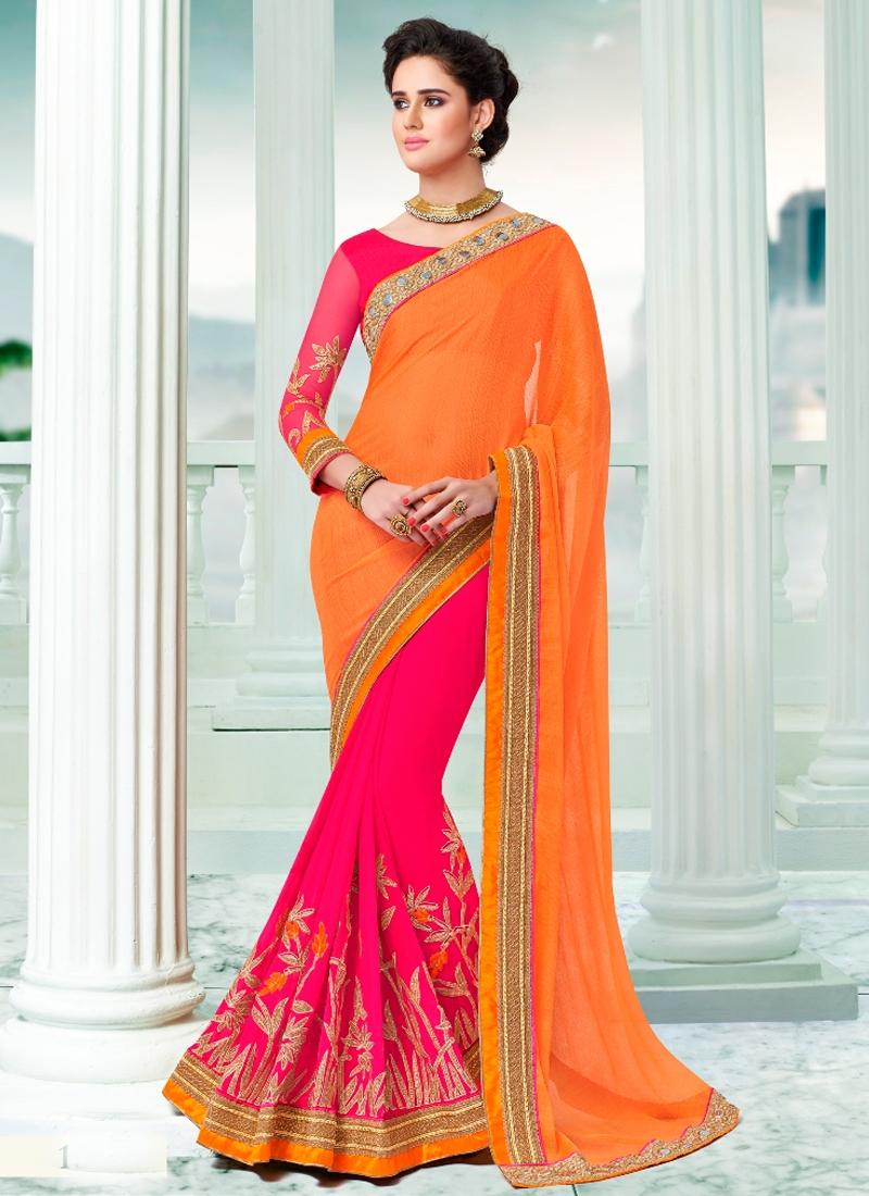 Vivacious Lace And Resham Work Half N Half Designer Saree