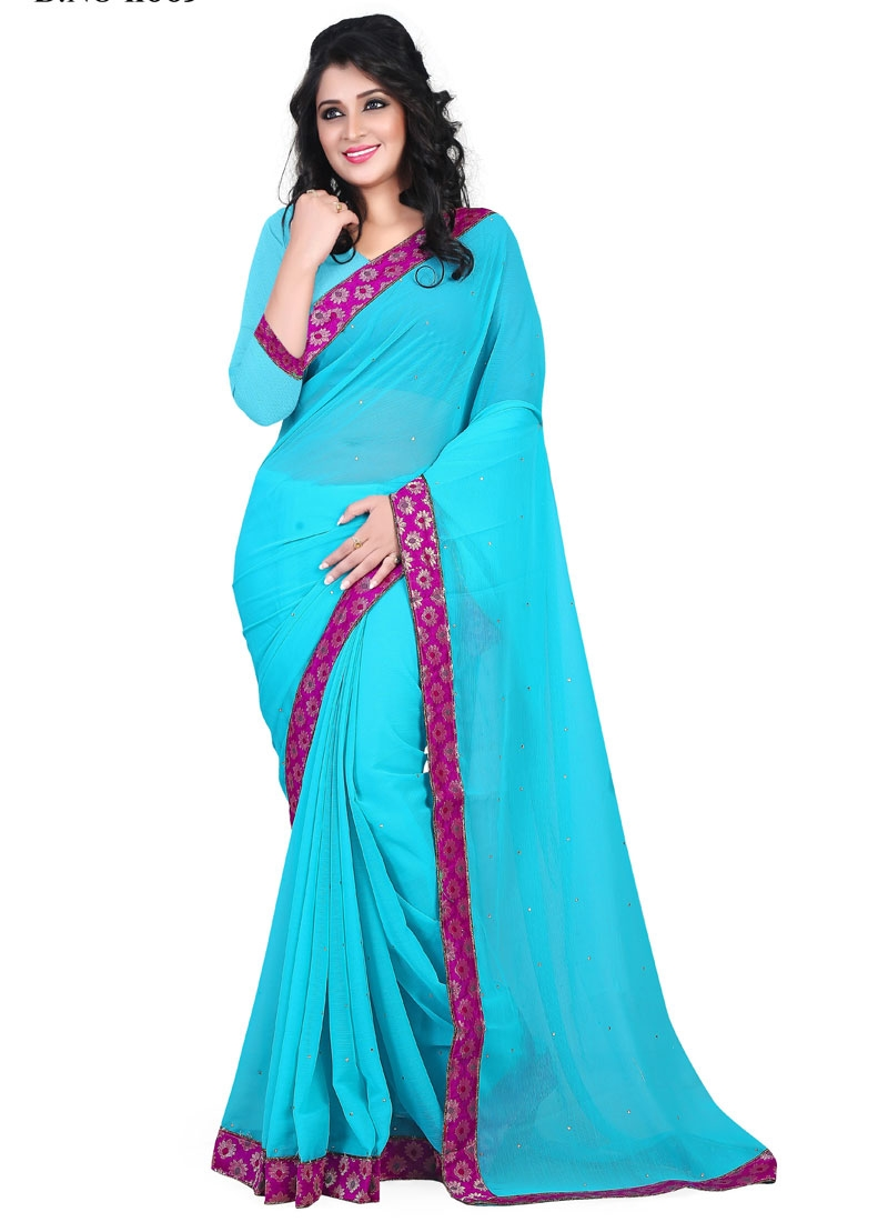 Vivacious Light Blue Color Stone Work Casual Saree