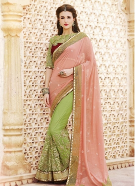Vivacious Mirror And Lace Work Half N Half Designer Saree