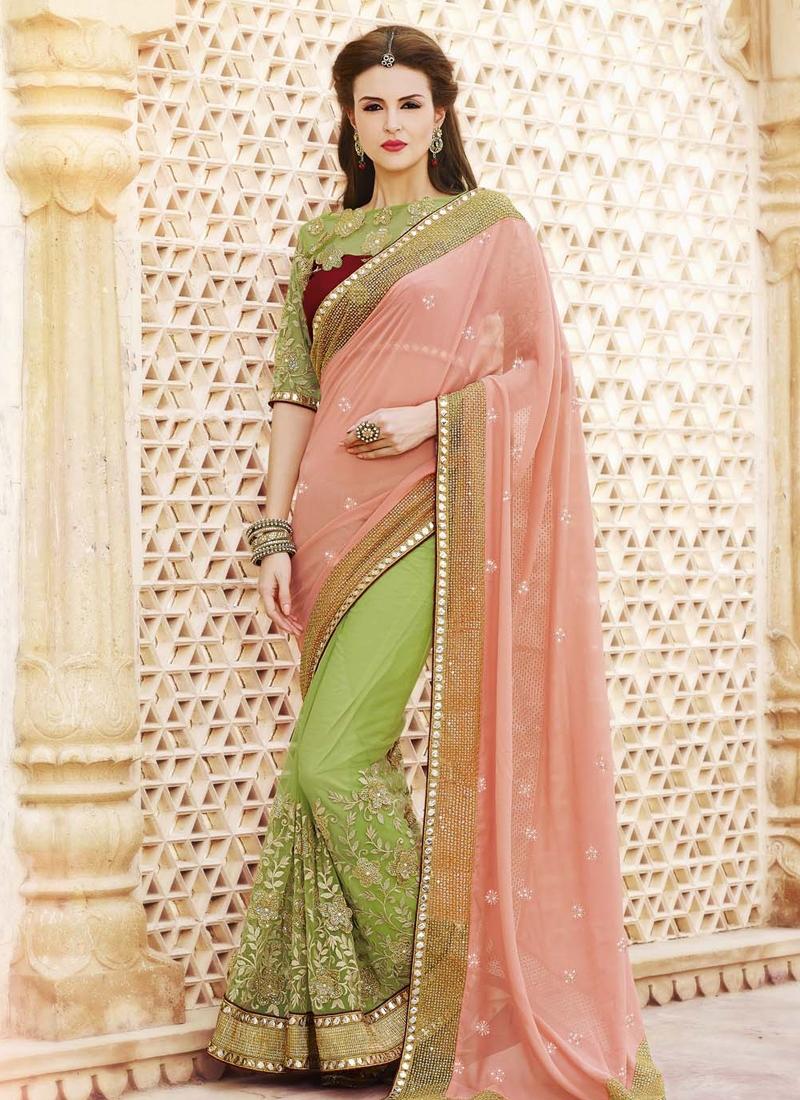 Vivacious Mirror And Lace Work Half N Half Designer Saree