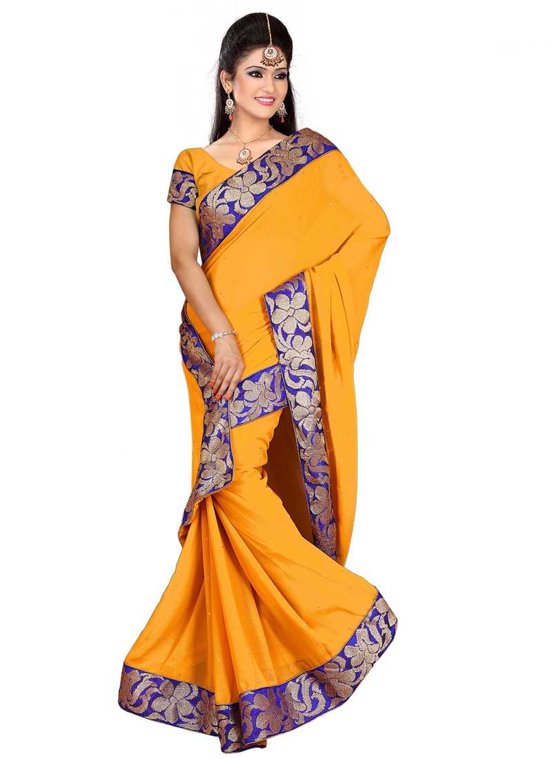 Vivacious Mustard Color Casual Saree