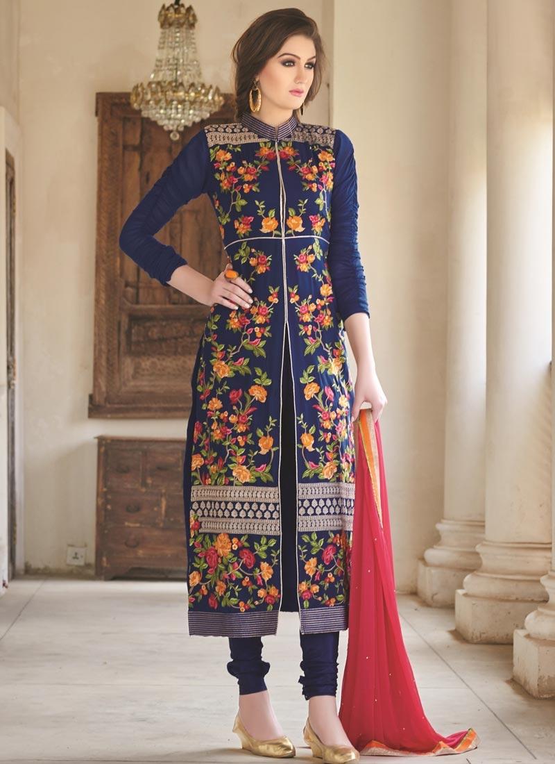 Vivacious Navy Blue Color Designer Salwar Suit