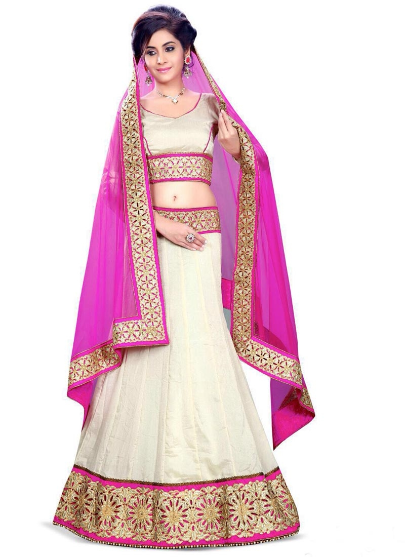 Vivacious Off White Color Resham Work Designer Lehenga Choli