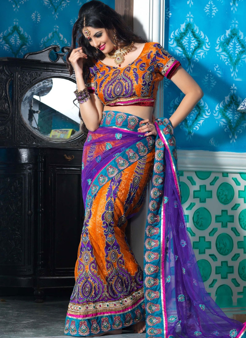 Vivacious Purple And Orange Net Lehenga Saree
