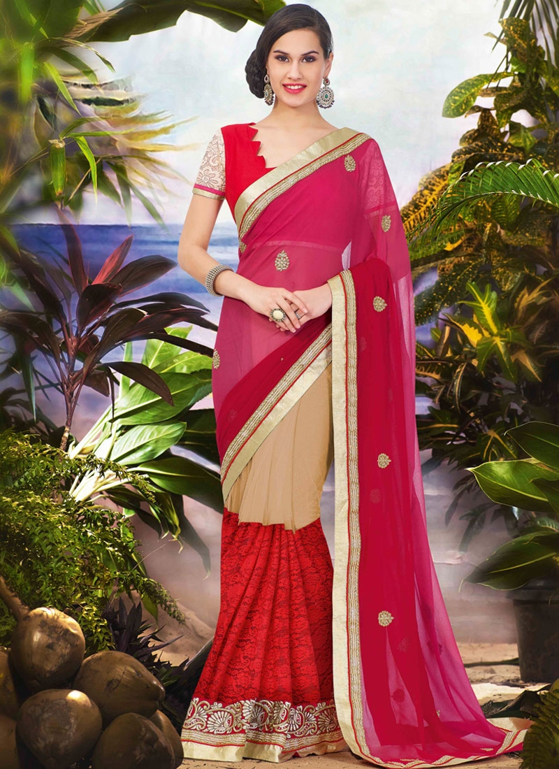 Vivacious Red Color Half N Half Party Wear Saree