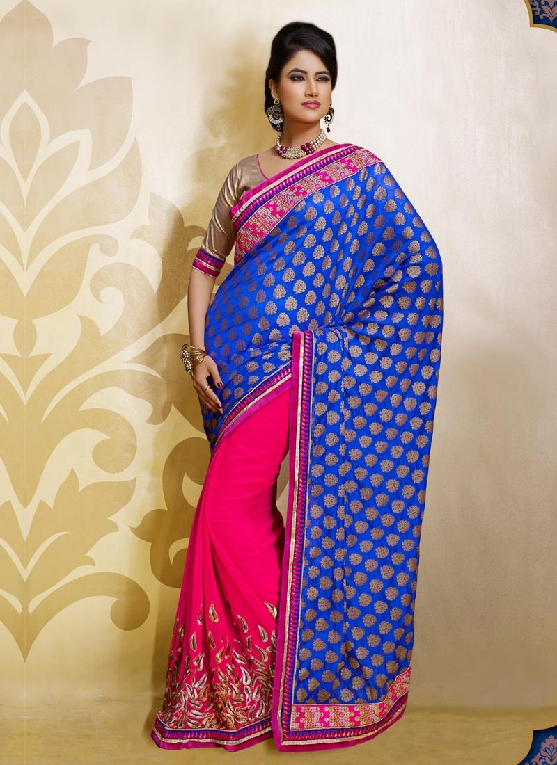 Vivacious Rose Pink And Blue Color Half N Half Saree
