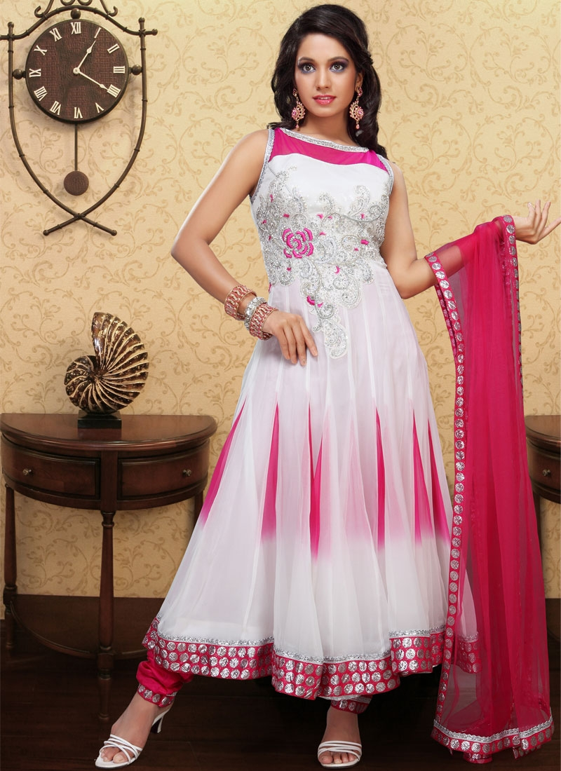 Vivacious Rose Pink And Off White Salwar Suit