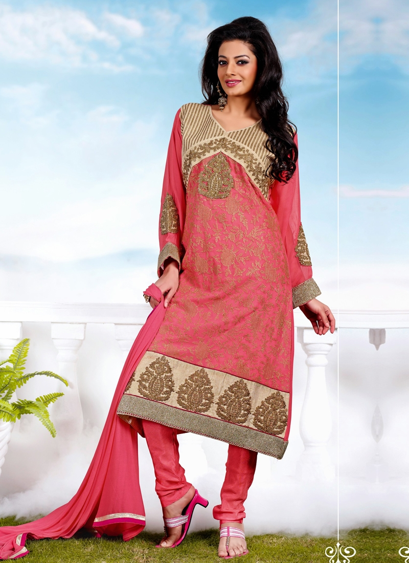 Vivacious Salmon Color Georgette Churidar Suit