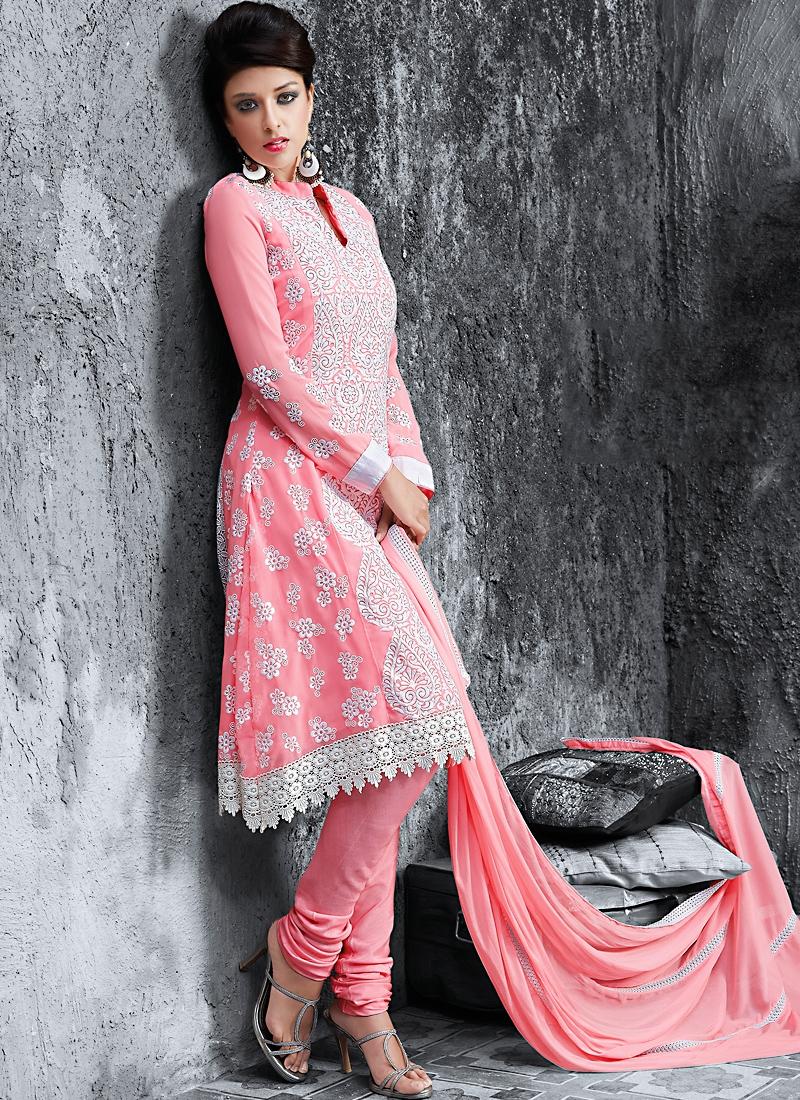Vivacious Salmon Color Georgette Salwar Suit
