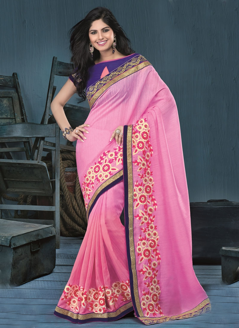 Vivacious Sequins and Floral Work Party Wear Saree