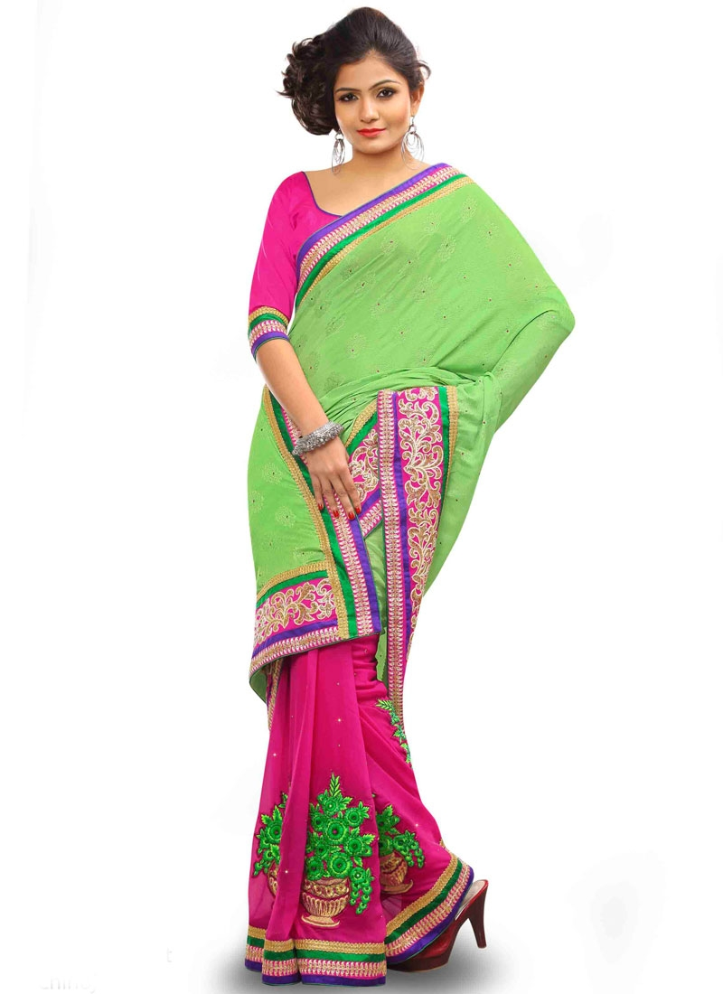 Vivacious Viscose Lace Work Half N Half Designer Saree