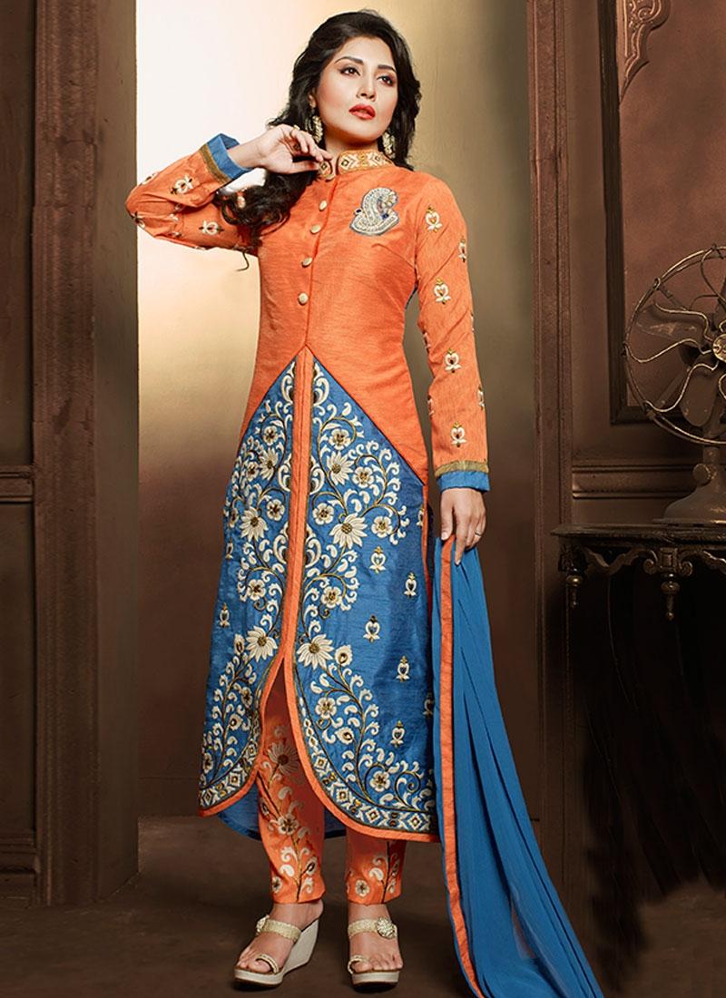 Vivid Art Silk Resham Work Pant Style Designer Suit