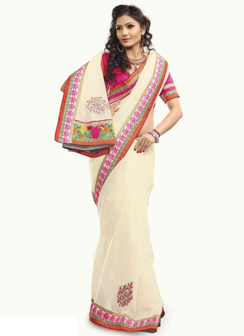 Vivid Booti Work Cream Color Party Wear Saree