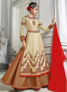Vivid Cream and Red Booti Work  Kameez Style Lehenga