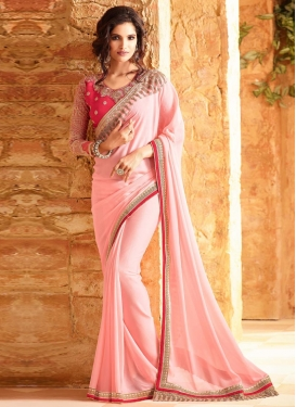 Vivid Embroidered Work Silk Georgette Contemporary Style Saree For Ceremonial