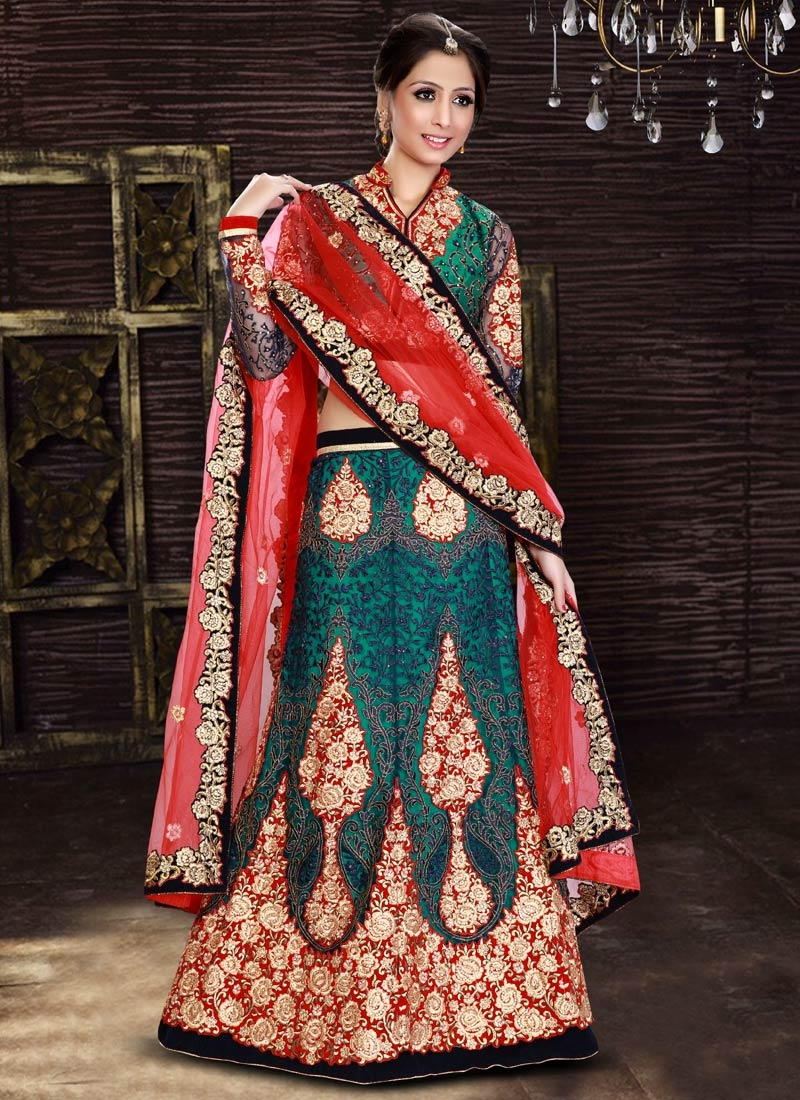 Vivid Embroidery And Booti Work Bridal Lehenga Choli