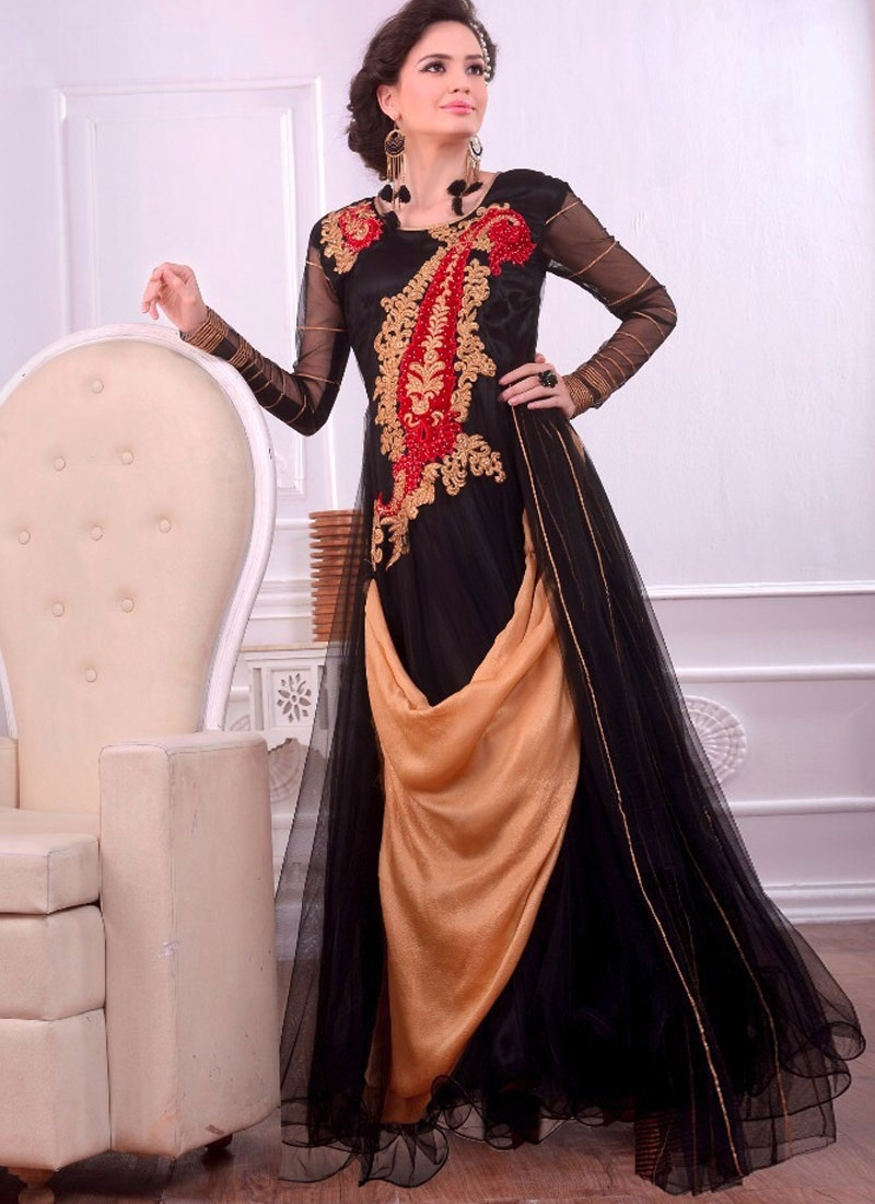 Vivid Embroidery Work Designer Readymade Gown