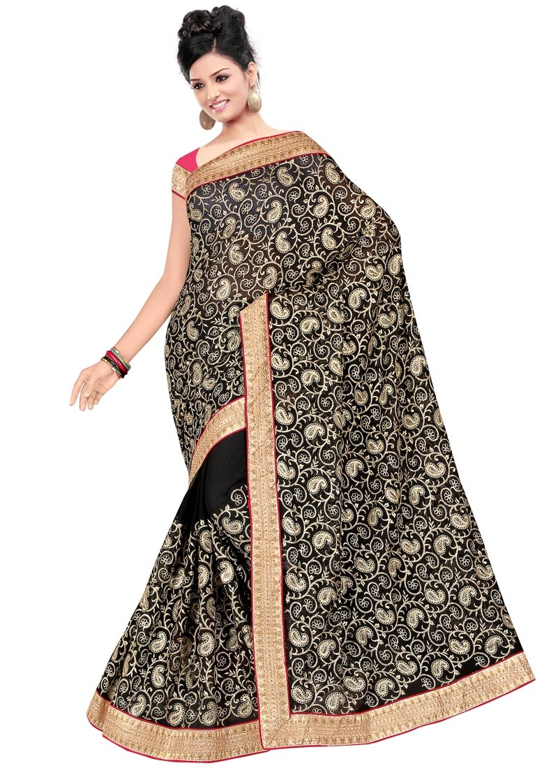 Vivid Embroidery Work Party Wear Saree