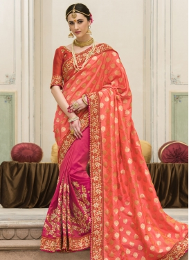 Vivid Jacquard Silk Orange and Rose Pink Half N Half Saree