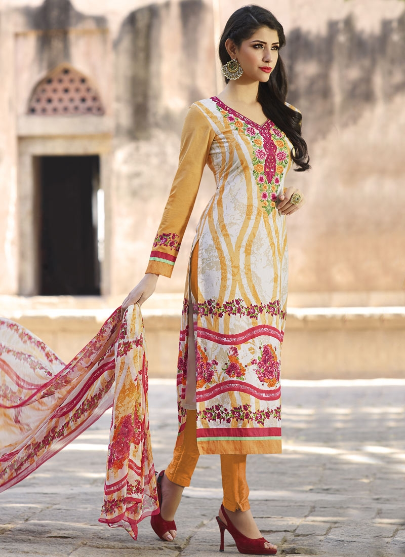 Vivid Lace And Floral Work Pant Style Party Wear Salwar Kameez