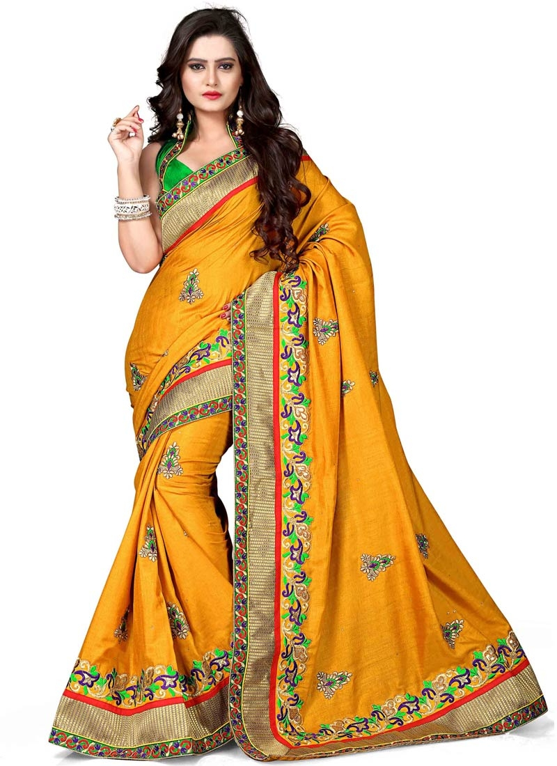 Vivid Lace Work Mustard Color Designer Saree