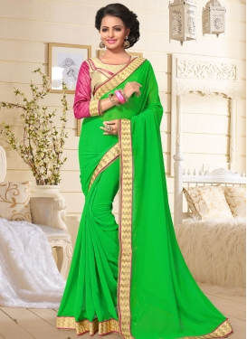 Vivid Lace Work Trendy Saree