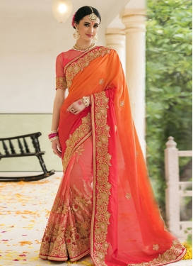 Vivid Orange and Salmon  Contemporary Style Saree