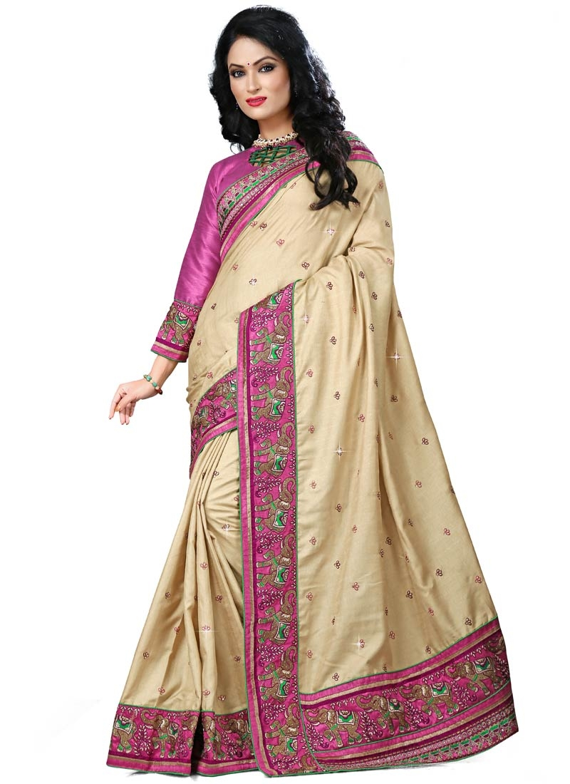 Vivid Resham Work Cream Color Designer Saree