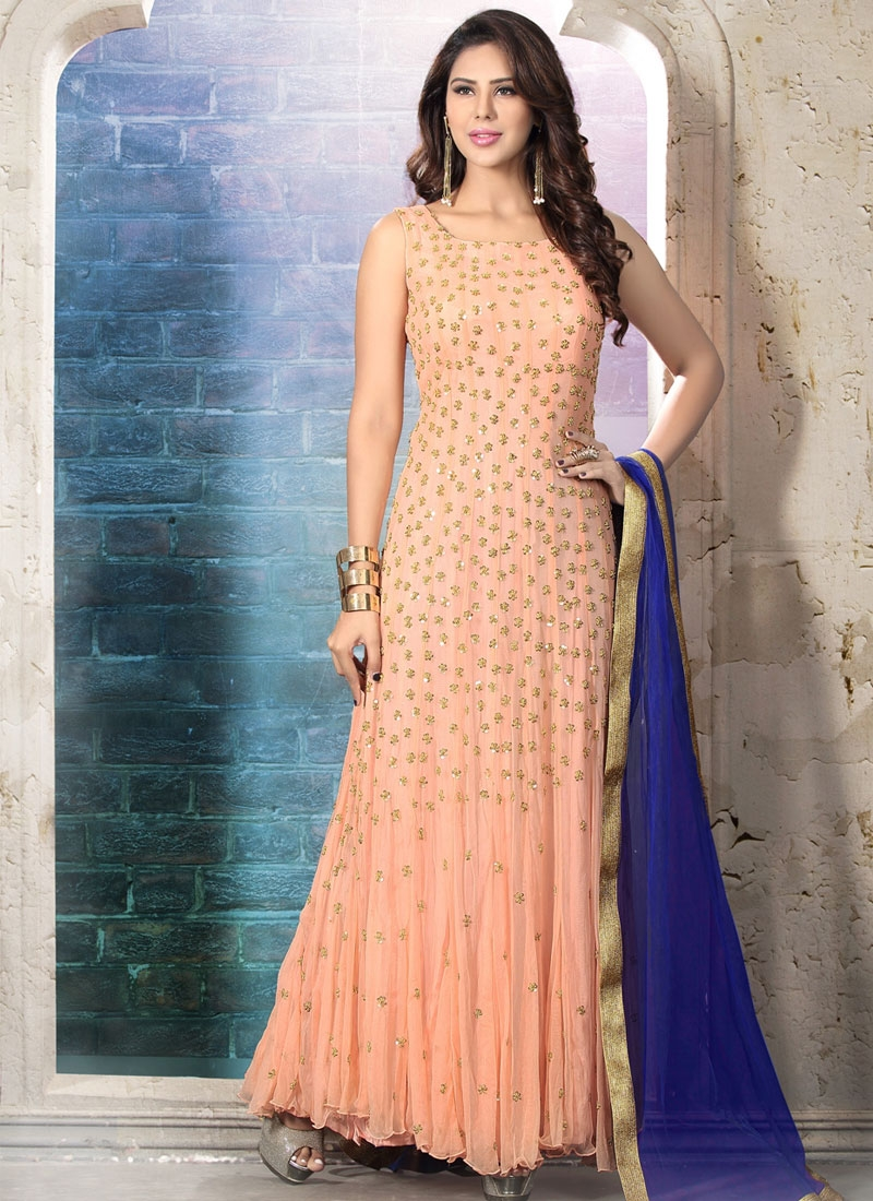 Vivid Sequins Work Net Readymade Wedding Salwar Suit