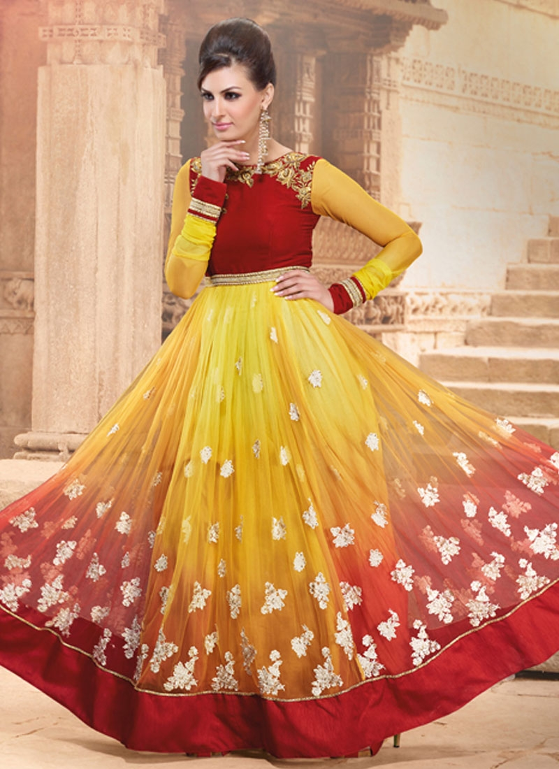 Vivid Yellow Color Net Flaring Anarkali Suit