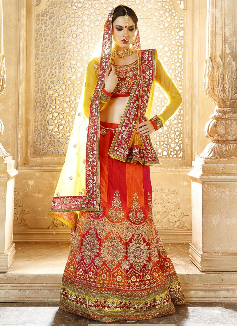Voguish Banglori Silk Patch Border Work Bridal Lehenga Choli