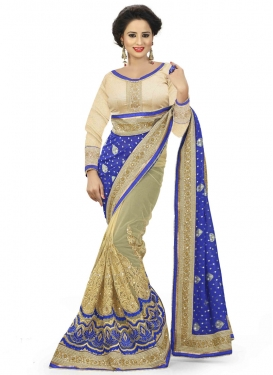 Voguish Beads Work Viscose Half N Half Bridal Saree
