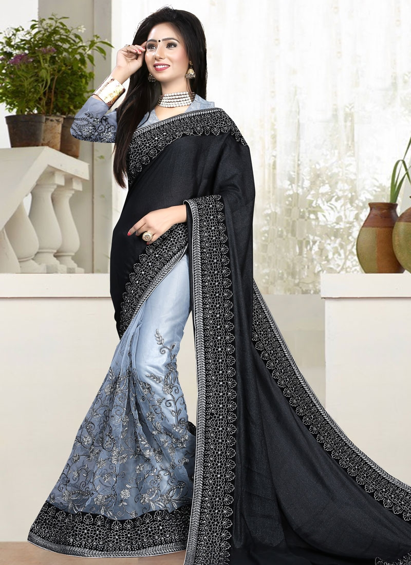 Voguish Black Color Embroidery Work Half N Half Wedding Saree