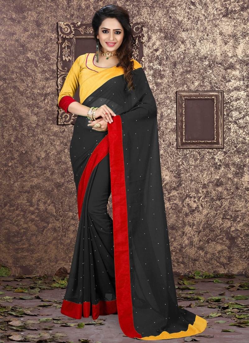 Voguish Black Color Lace Work Casual Saree