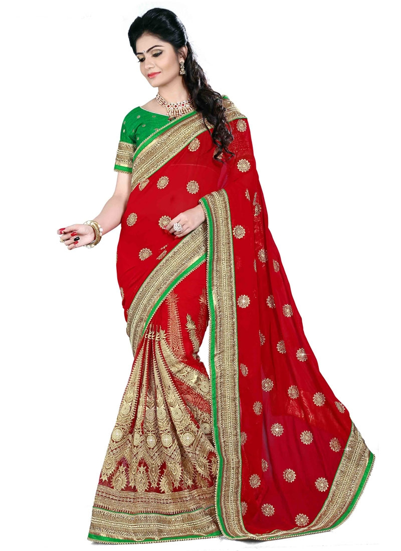 Voguish Booti And Multi Enhanced Bridal Saree