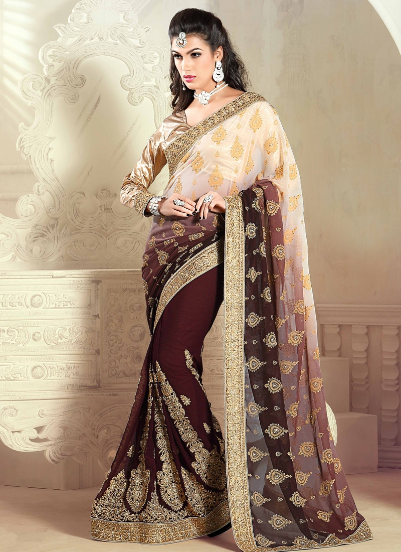 Voguish Booti Work Half N Half Wedding Saree