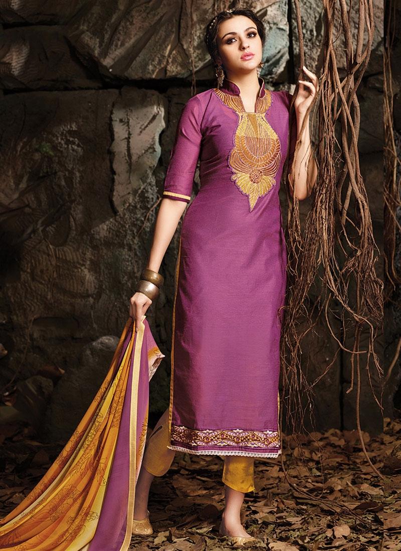Voguish Chanderi Cotton Pant Style Casual Salwar Suit
