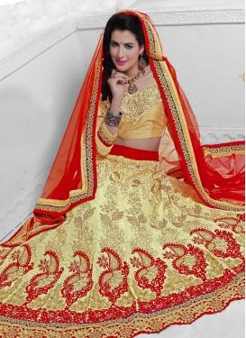 Voguish Cream Color Resham Work Net Bridal Lehenga Choli