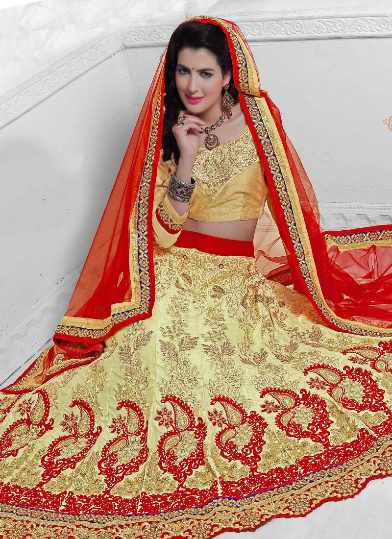 Voguish Cream Color Resham Work Net Bridal Lehenga Choli