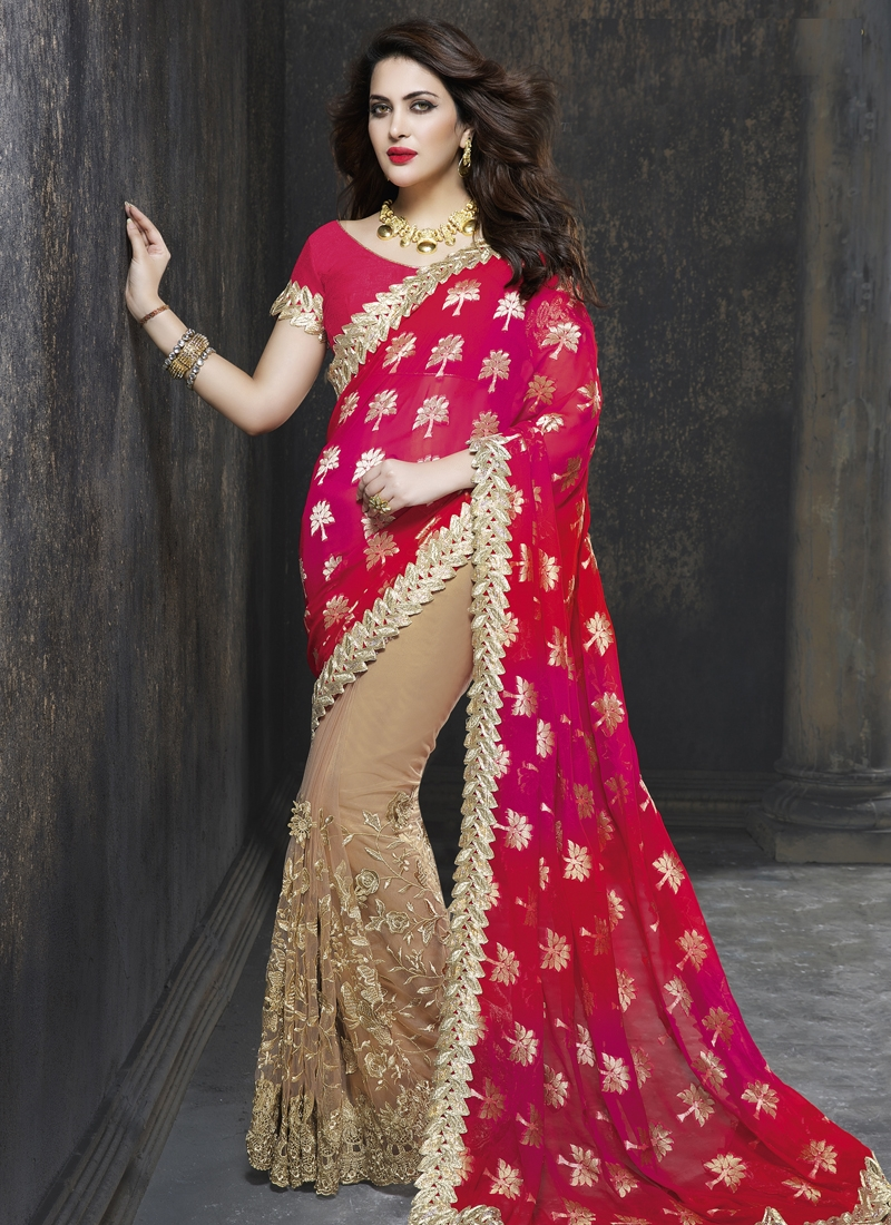 Voguish Embroidery Work Half N Half Designer Saree