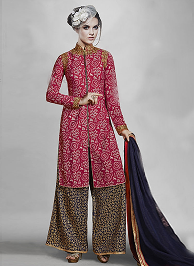 voguish fuchsia color vikram phadnis inspired party wear