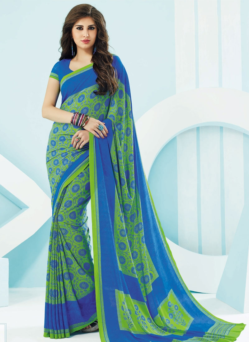 Voguish Green And Blue Color Casual Saree