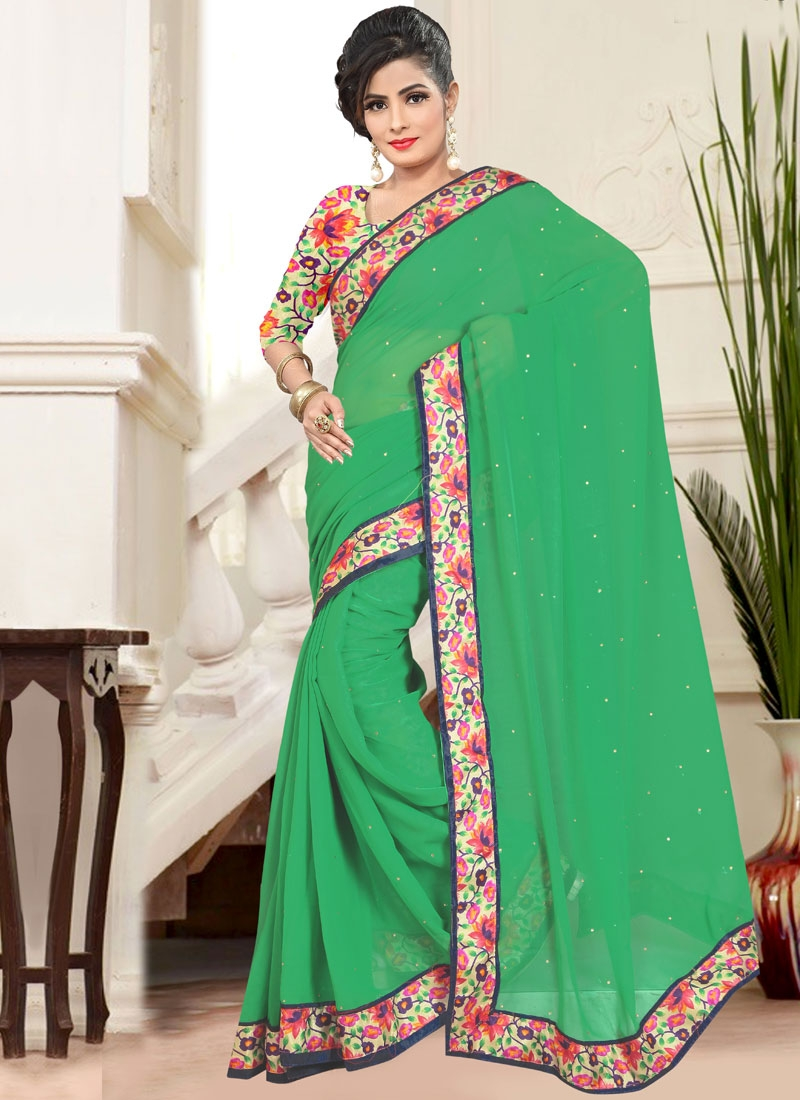 Voguish Green Color Faux Chiffon Casual Saree