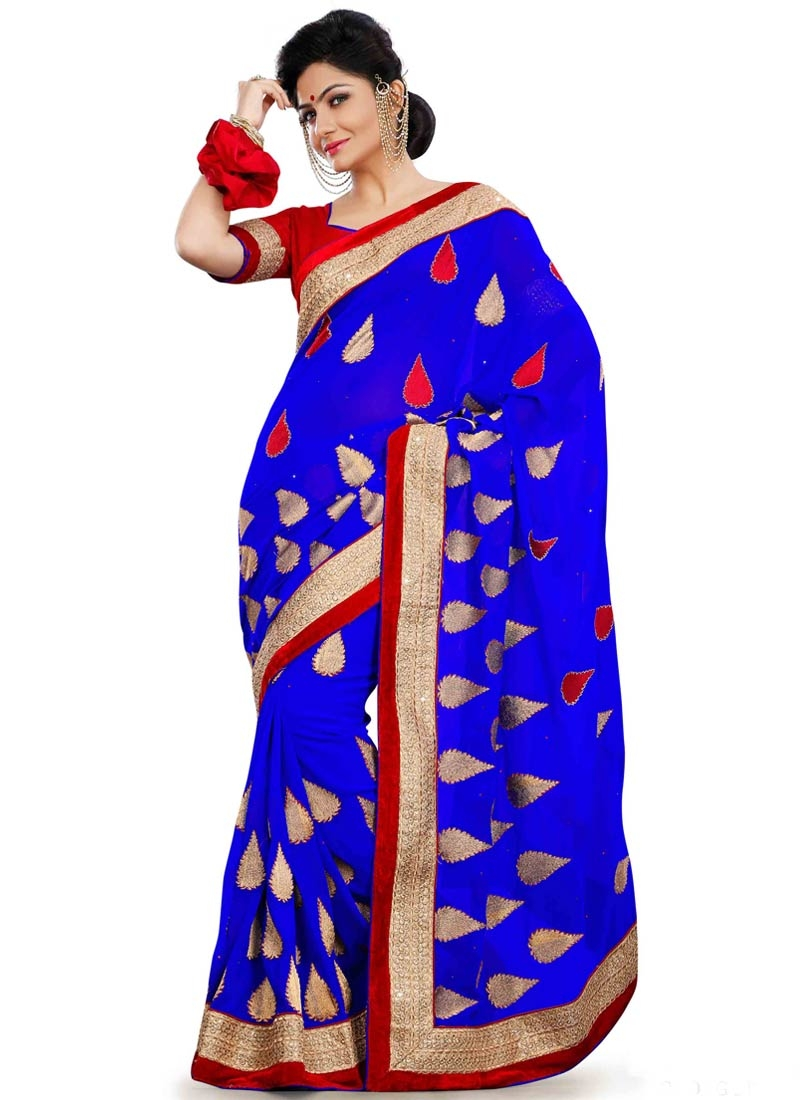 Voguish Lace Work Faux Georgette Party Wear Saree