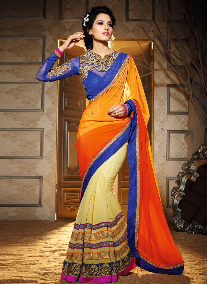 Voguish Lace Work Half N Half Designer Saree