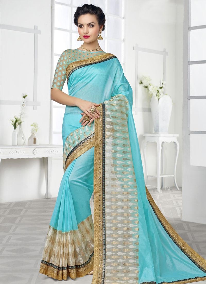 Voguish Lace Work Silk Party Wear Saree