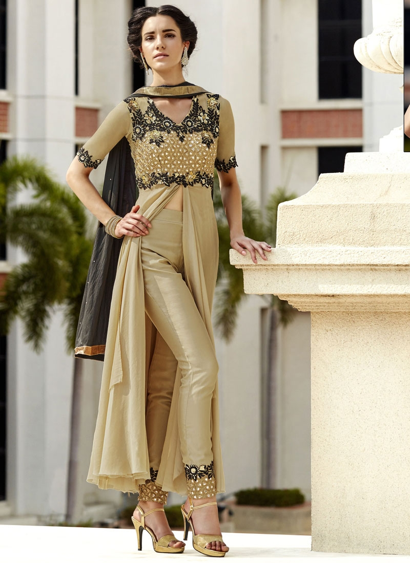 Voguish Mirror And Sequins Work Pant Style Designer Suit
